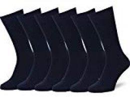 Easton Marlowe 6 PR Calcetines Lisos Negros Hombre, Algodón Peinado - 6pk #3-2, Azul Marino Oscuro - 39-42 talla de calzado UE
