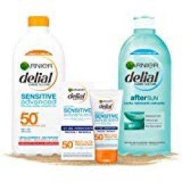 Garnier Delial kit de protección solar pieles sensibles: Protección facial UV Gel hidratante IP 50+ + Leche solar IP 50+ + Leche hidratante calmante after sun
