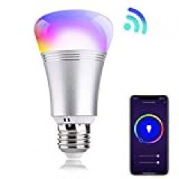 Bombilla inteligente Smart Life E27 LED WiFi RGBW 9W. Compatible con Alexa y Google Home. Luz blanca regulable 2700K-6500K y tonos multicolor ajustable.