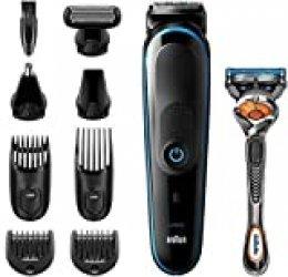 Braun Recortadora MGK5280 9 en 1, Máquina recortadora de barba, set de depilación corporal y cortapelos para hombre, color negro/azul