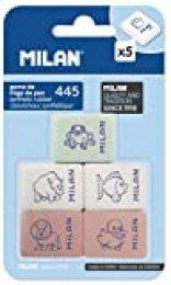 Milan BMM9222 - Pack de 5 gomas de borrar de caucho sintètico flexible, modelo de figurinas surtido