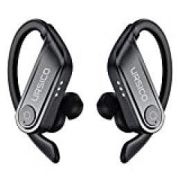 Auriculares Bluetooth Estéreo Auriculares Deportivos, Auriculares Inalámbricos con Micrófono Hi-Fi CVC8.0, 10H+50H Reproducir, Impermeable Cascos Deporte con Estuche de Carga para iPhone Android