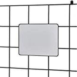 iDesign Espejo colgante para sistema modular, pequeño espejo de metal para recibidor o baño, espejo rectangular para rejilla de pared o para bolso, negro mate