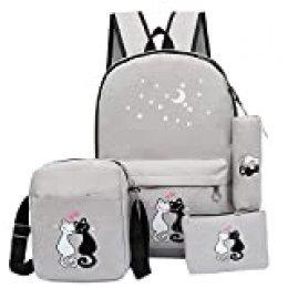 Bansusu Star Cat Prints - Mochila de lona para niñas con bolsa de almuerzo (4 unidades), gris claro (Gris) - .