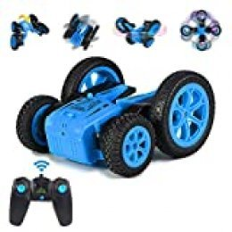 ThinkMax Stunt Car Radio Control, 2,4 GHz Coche Teledirigido 4WD Double-Sided Stunt RC Car Rotación 360 (Azul)