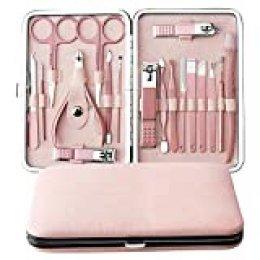 Manicure Set, Anself 18 pcs Kit de Herramientas de Manicura Pedicura Profesional Juego de Cortauñas Recortador de Limas de Uñas Afeitado de Cejas Herramienta de Corte de Pelo de Nariz (Rosa Rosa)