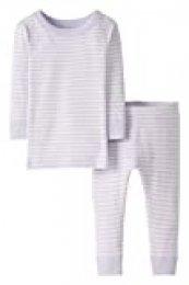 Moon and Back de Hanna Andersson - Conjunto de pijama de 2 piezas de manga larga, hecho de algodón orgánico y con diseño a rayas para bebé, Púrpura, 3 años (87-97 CM)