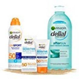 Garnier Delial kit de protección deporte: Protección facial UV Gel hidratante IP 50+ + Bruma protectora IP 50 UV sport + Leche hidratante calmante after sun