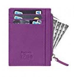 flintronic Tarjeta de Crédito Slim, RFID Bloqueo Monedero de Cuero, Mini Billetera para Tarjetas de Crédito (#5 Morado con Cremallera)
