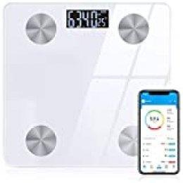 Sinocare bascula de baño grasa corporal Bluetooth Analizar 12 Funciones, Básculas Inteligente Digital: BMI, Compatible con IOS/Android