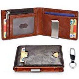 flintronic Cartera Hombre, Slim Billetera de Piel Auténtica para Tarjetas de Crédito, Monedero con Pinza y Protección RFID, con Llavero y Caja de Regalo