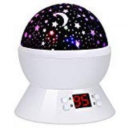 Lámpara de Proyector Estrellas, Lámpara de Noche con Temporizador, 360 Grados Rotación Proyector 4 LEDs 8 modos de luz, 2 fuentes de alimentación regalo para niños Navidad Cumpleaños (Blanco)