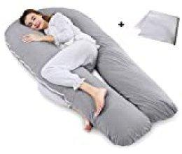 QUEEN ROSE - Almohada de maternidad de cuerpo completo con funda reemplazable y lavable gris Jersey, Gray Talla:170 x 90 cm