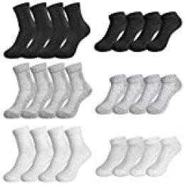 Rovtop 12 Pares de Calcetines para Hombre y Mujer - 6 Pares Calcetines Deportivos Medias Bajas y 6 Pares de Calcetines de Tubo Medio Transpirable (Blanco/Negro/Gris)