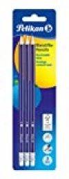Pelikan Kit 3 Lápices y Goma, grafito HB, madera certificada FSC, tambor pintado de sección hexagonal, minas resistentes a la rotura - 978866