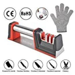 Bedee - Afilador de cuchillos, 3 pasos (diamante, cerámica, tungsteno) con base antideslizante, repara fácil y rápidamente todo tipo de cuchillos, tijeras