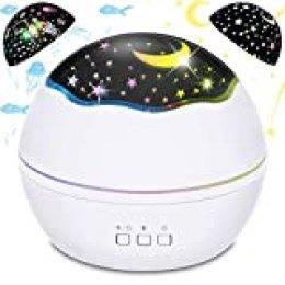 BICASLOVE Proyector de luz nocturna 2 en 1 LED estrellado y oceánica, proyector de luz nocturna giratorio de 360 grados con 8 modos de colores para dormitorio de niños, niños