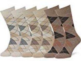 Easton Marlowe 6 PR Calcetines Estampados Hombre Argyle/Rombos - 6pk #2-5, Trigo/Arena/Gris Pardo mezcla, 43-46 EU shoe size