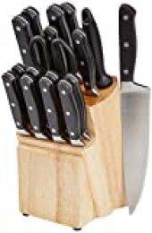 AmazonBasics Premium - Juego de cuchillos de cocina y soporte (18 piezas)