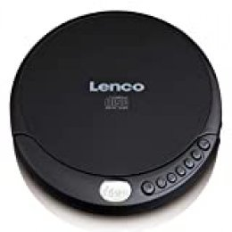Lenco CD-200 Reproductor de CD Portable CD Player Negro - Unidad de CD (MP3, Portable CD Player, Negro, Azar, Repetir Todo, Resistente a Golpes, LCD)