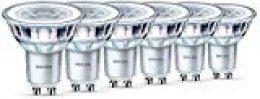 Philips - Pack de 6 Bombillas Led Foco Gu10 Cristal, 4.6 W Equivalente a 50 W, 355 Lúmenes, Luz Blanca Cálida