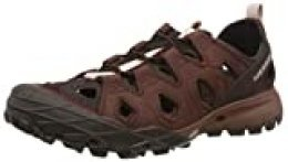 Merrell Choprock Leather Shandal, Zapatillas Impermeables para Mujer, Rojo (Raisin), 37 EU