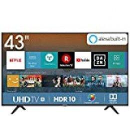 Hisense H43BE7000, Smart TV 4K Ultra HD, 3 HDMI, 2 USB, Salida Óptica y de Auriculares, Wifi, HDR, Dolby DTS, Procesador Quad Core, VIDAA U 3.0 con IA