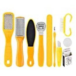 Lima de Pies,Kit de Pedicura,Pedicure Foot File,10 en 1 Kit de herramientas de pedicura profesional, Conjunto de pie de Acero Inoxidable Escofina de pie Remover la Piel Muerta Para el Cuidado