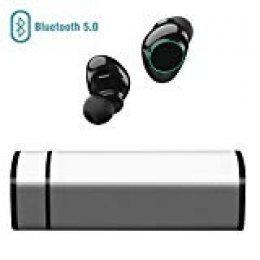 Muzili Auriculares Bluetooth, Inalámbrico Bluetooth Auriculares con Cancelación de Ruido Pantalla Táctil IP65 Auriculares con Micrófono para iPhone y Android con Portátil Caja de Carga(Silver)