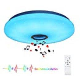 HOREVO 24W Plafón Bluetooth Ø38cm Lámpara de techo led con mando a distancia y altavoz Bluetooth Para el Dormitorio, Sala de Estar, Sala de Niños