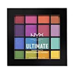 NYX Professional Makeup Paleta de Sombra de Ojos Ultimate Shadow Palette, Pigmentos Compactos, 16 Sombras, Acabados Mate, Satinados y Metalizados