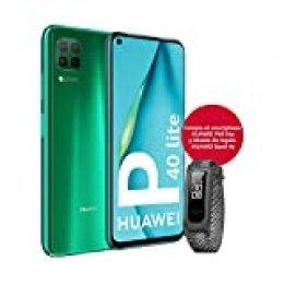 """HUAWEI P40 Lite - Smartphone con Pantalla de 6.4"""" FullView (Kirin 810, 6GB de RAM,128GB de ROM, 48MP, Cuádruple cámara, Carga Rápida de 40W, Batería de 4200mAh) Verde + Band 4e Gris"""