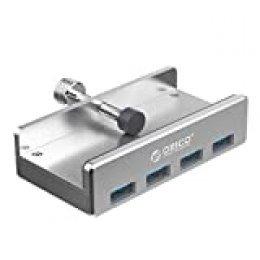 ORICO Hub USB 3.0 4 Puertos Aluminio SuperSpeed 5Gbps con Cable USB 3.0 100cm y LED USB Data Hub para Mac Apple MacBook Ordenador Portátil