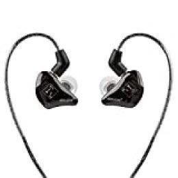 Auriculares EasyUp In-Ear Monitoring de HÖRLUCHS para músicos y Jugadores, con Cables, Cable de Cambio, Clavija de 3,5 mm, Tapones para los oídos y Funda, Color Negro