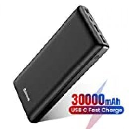 Baseus Batería Externa 30000mAh,Power Bank Bateria Portatil para Movil con USB C PD para iPhone iPad Samsung Xiaomi para Smartphones Tabletas y Más Nergo