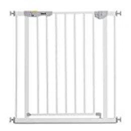 Hauck Autoclose N Stop 2 puerta de segurida 75-80 cm, cierre magnético, autocierre, indicadore visual, apertura a ambos lados, ampliable hasta 122 cm,sin agujeros en pared, metal blanco