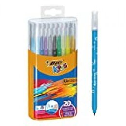 BIC Kids Kid Couleur - Pack de 20 rotuladores de colorear para aprendizaje en caja metálica, multicolor