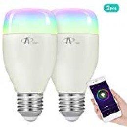 Bombilla Wifi, ACCEWIT Bombilla LED inteligente RGB Multicolor 7W E27 Control de Voz, 650LM Smart Bombilla Funciona con Alexa Echo Google, para Casa Decoración Bar Fiesta KTV-2 Pack
