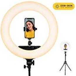 Anillo Luz, esddi 18 pulgadas/48 cm 100 W Regulable LED Anillo de luz, Temperatura De Color 3200 K Ajustable 5800 K, TeleFono movil Soporte, Flash Adaptador de Zapata para Vlogs Video, Youtube