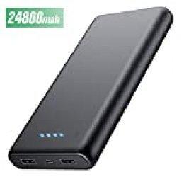 HETP Batería Externa para Móvil 24800mAH Power Bank Ultra capacidad Cargador Portátil con 2 Puertos Salidas USB Alta velocidad para Smartphone Dispositivos Android Tabletas y Más