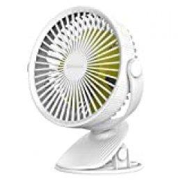 SAWAKE Ventilador Clip Portátil, Mini Ventilador de Escritorio USB Eléctrico Silencioso con 3 Velocidades Ajustables, Giratorio 360 °, Batería Recargable 2600mAh para Cochecito, Automóvil, etc.