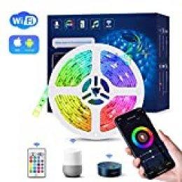 WIFI Tiras LED Alexa Inteligente, TASMOR Luces LED RGB 5M Música Funciona con Alexa, Google Home, App, 16 Colores Autoadhesiva 3M IP65 Impermeable, Luz Decoracitiva para Habitación, Fiestas