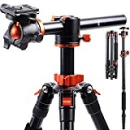 """K&F Concept 170cm Trípode Cámara Reflex TM2515T1 con Monopie, 360° y 180° Columna Central Transversal, 360° Rótula de Bola Panorámica y 1/4"""" Placa Rápida Liberación para Cámara DSLR Canon Nikon Sony"""