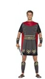 """Smiffys-45495XL Disfraz de Gladiador Romano, con túnica, Capa incorporada, brazaletes y e, Color Negro, XL-Tamaño 46""""-48"""" (Smiffy'S 45495XL)"""