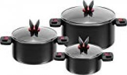 BALLARINI Click+Cook-Set de 3 ollas 16, 20, 24 cm, Tapa de Cristal, Compuesto, Negro, Unidades