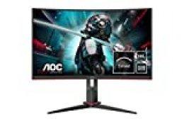 """Monitor AOC CQ27G2U/BK- Pantalla para PC Curvo de 27"""" QHD (resolución 2560x1440, 1ms, 144 Hz, VA, FreeSync, Altavoces, VESA, HDMI, Displayport, USB)"""