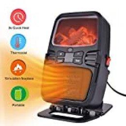 Hisome Calefactor Eléctrico Cerámico Portátil 1000W 15℃-32℃ Configuraciones de Temperatura Protección contra Volcado y Sobrecalentamiento para Cuarto/Oficina