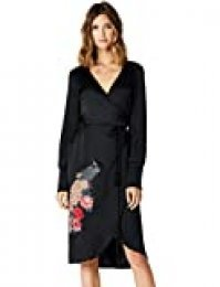 Marca Amazon - TRUTH & FABLE Vestido Cruzado con Bordado Mujer, Negro (Black Black), 36, Label: XS