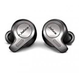 Jabra Elite 65t – Auriculares Bluetooth con Cancelación Pasiva del Ruido, Tecnología de Cuatro Micrófonos para Auténticas Llamadas Inalámbricas y Música, Negro Titanio