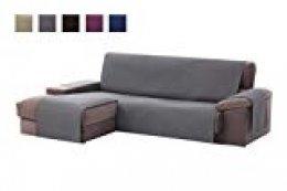 textil-home Funda Cubre Sofá Chaise Longue Adele, Protector para Sofás Acolchado Brazo Izquierdo. Tamaño -240cm. Color Gris (Visto DE Frente)